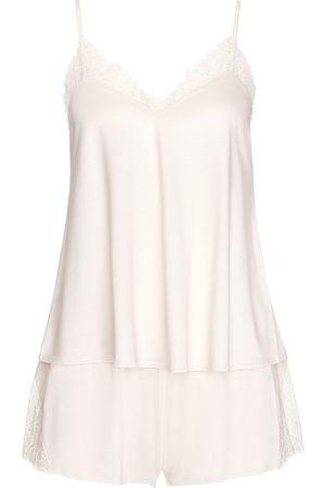 Lisca Pantalones cortos de pijama camiseta rosa boda marfil para mujer