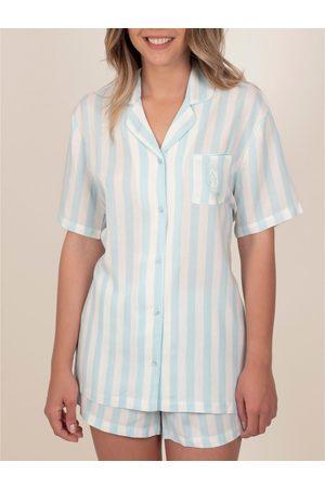 Admas Camisa de pijama corta Classic Stripes para mujer