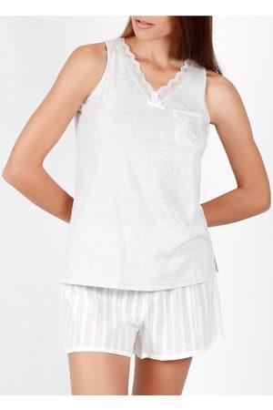 Admas Pantalones cortos de pijama sin mangas Luxe Stripes para mujer