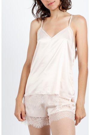 Admas Pijama corto sin mangas azul marino y negro para mujer