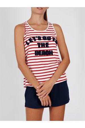 Admas Vamos a la playa roja con pantalones de pijama para mujer