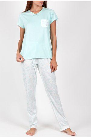 Admas Camiseta de pantalones pijama Flores verano para mujer