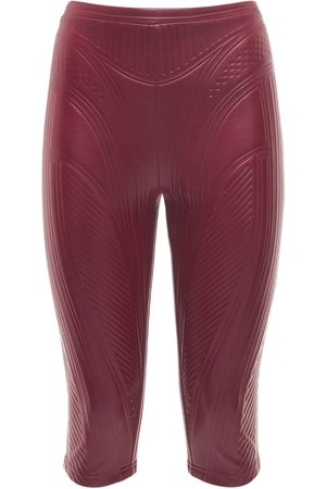 MUGLER Mujer Pantalones y Leggings - | Mujer Pantalones Biker De Jersey En Relieve Brillante 34