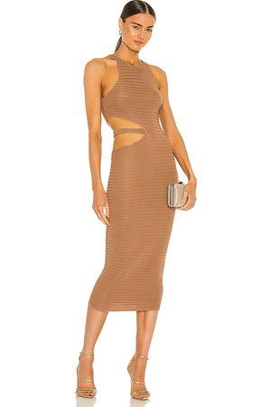 Michael Costello Vestido midi athena en color marrón talla L en - Brown. Talla L (también en M, S, XL, XS, XXS).