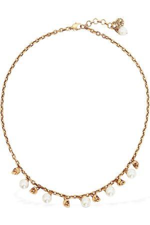Alexander McQueen | Mujer Crystal Pearl & Skull Short Necklace /blanco Unique