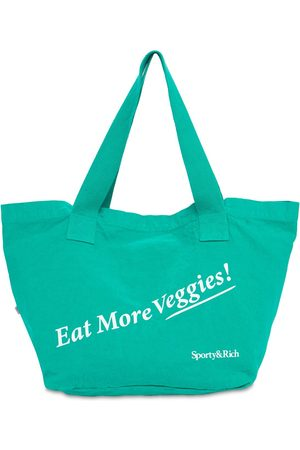 "Sporty & Rich | Mujer Bolso Tote ""eat More Veggies"" De Algodón Unique"