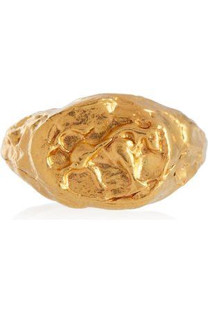 Alighieri Mujer Anillos - Anillo de sello Taurus con baño en oro de 24 ct