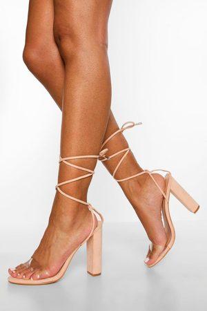 Boohoo Mujer Sandalias - Sandalias Anchas Con Tiras Cruzadas Transparentes, Color Carne