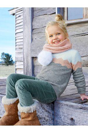 Vertbaudet Bufanda para niña con pompones de pelo sintético claro liso