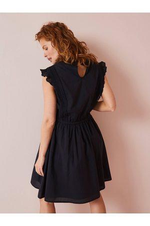 Vertbaudet Vestido para embarazo con cuello alto y macramé oscuro liso con motivos
