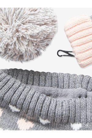 Vertbaudet Conjunto para niña de gorro + snood + guantes oscuro jaspeado