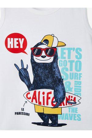 Vertbaudet Camiseta sin mangas con motivo Surf Fun para niño claro liso con motivos