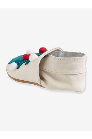Vertbaudet Zapatillas patucos blandos para bebé recién nacido de piel para Navidad medio liso con motivos