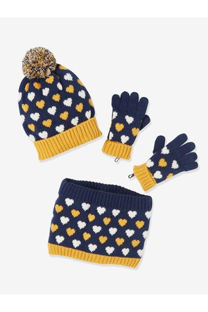 Vertbaudet Conjunto para niña de gorro + snood + guantes oscuro estampado