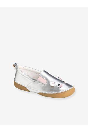 Vertbaudet Zapatillas patucos elásticos de piel fantasía, para niña medio metalizado