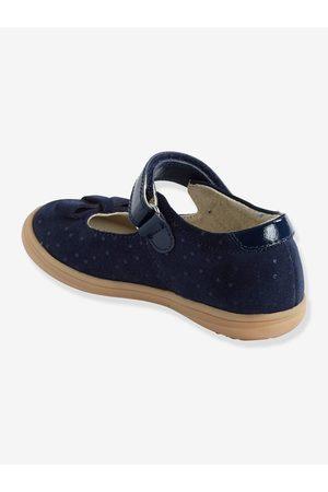 Vertbaudet Zapatos tipo babies de piel con cierre autoadherente para niña, especial autonomía oscuro estampado