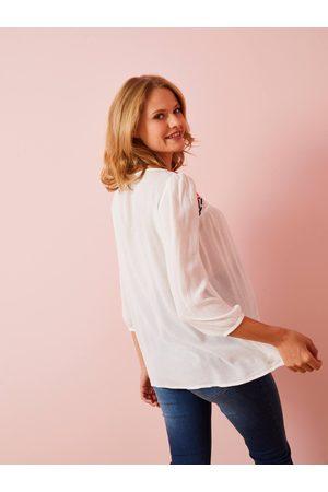 Vertbaudet Blusa de embarazo bordada claro liso con motivos