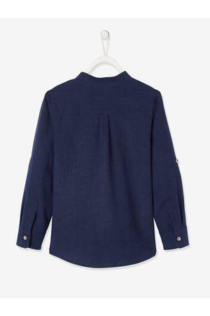 Vertbaudet Camisa de lino/algodón para niño con cuello mao, de manga larga oscuro liso
