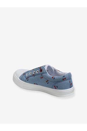 Vertbaudet Zapatillas elásticas de tela para niña medio liso con motivos