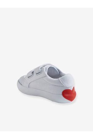 Vertbaudet Zapatillas deportivas de lona con tiras autoadherentes bebé niña claro liso con motivos