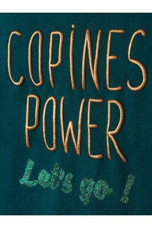Vertbaudet Camiseta con mensaje irisado para niña de manga larga oscuro liso con motivos