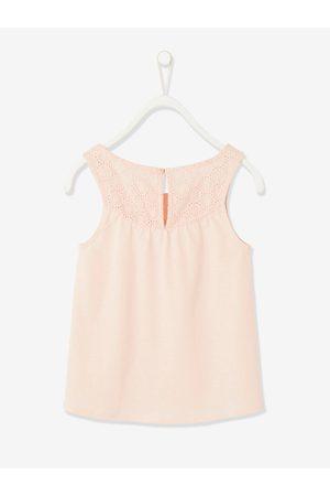 Vertbaudet Camiseta de tirantes con bordado inglés para niña claro liso