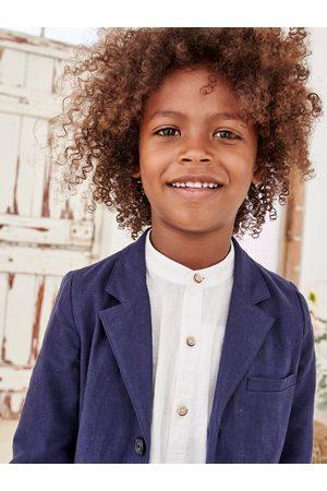 Vertbaudet Camisa de lino/algodón para niño con cuello mao, de manga larga claro liso