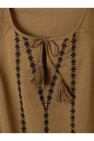 Vertbaudet Vestido de embarazo con detalles de borlas y bordados medio liso con motivos