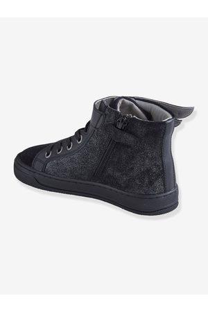 Vertbaudet Zapatillas de caña alta de piel, para niña oscuro liso