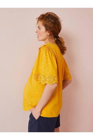 Vertbaudet Camiseta con bordado inglés de manga corta, de embarazo oscuro liso con motiv