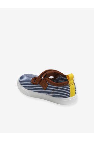 Vertbaudet Zapatos tipo babies de lona con cierre autoadherente para bebé niño oscuro a rayas