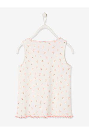 Vertbaudet Camiseta sin mangas de punto de canalé con flores, para niña claro estampado