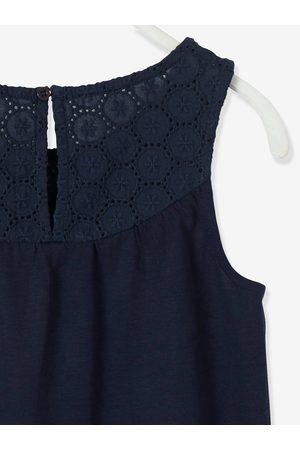 Vertbaudet Camiseta de tirantes con bordado inglés para niña oscuro liso