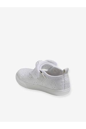 Vertbaudet Zapatos tipo babies de tela con cierre autoadherente, para bebé niña claro liso con motivos