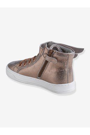 Vertbaudet Zapatillas de caña alta de piel, para niña medio metalizado