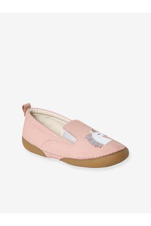 Vertbaudet Zapatillas patucos elásticos de piel fantasía, para niña claro liso con motivos