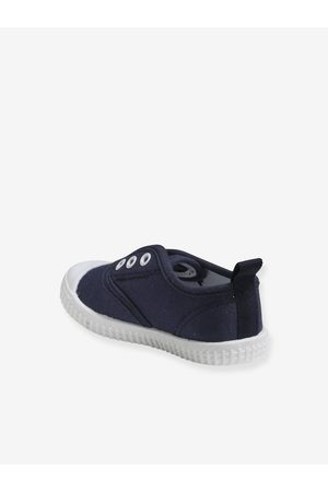 Vertbaudet Zapatillas con elásticos de tela, para bebé niño oscuro liso