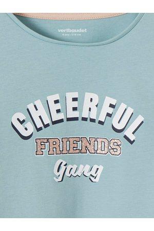 Vertbaudet Camiseta de manga larga con mensaje y detalles irisados, para niña claro liso con motivos