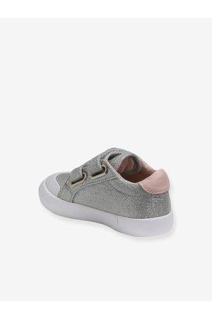 Vertbaudet Zapatillas deportivas de lona con tiras autoadherentes bebé niña medio metalizado