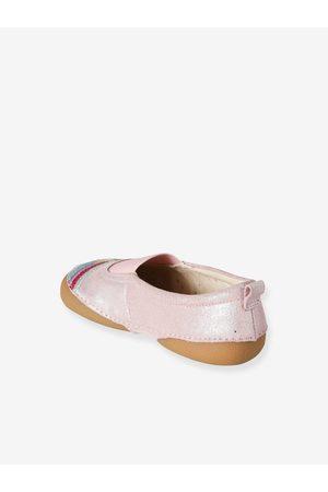 Vertbaudet Zapatillas estilo bailarinas de piel, para niña claro liso con motivos
