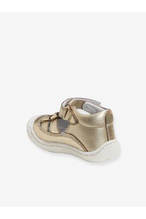 Vertbaudet Sandalias de piel ligera para bebé niña especial gateo claro metalizado