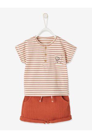 Vertbaudet Conjunto de camiseta a rayas + short para bebé niño oscuro a rayas
