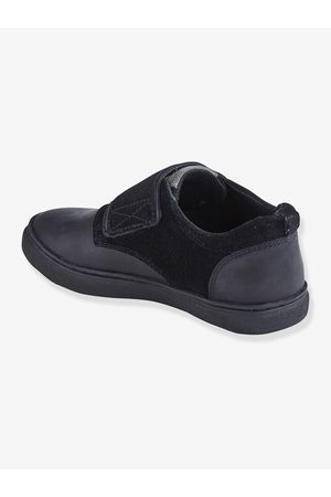 Vertbaudet Zapatos con cierre autoadherente de piel para niño oscuro liso