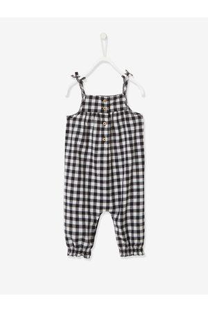 Vertbaudet Conjunto de peto, camiseta y cinta del pelo para bebé niña oscuro a cuadros
