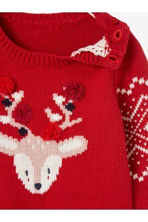 Vertbaudet Jersey unisex de Navidad con reno para bebé oscuro liso con motivos