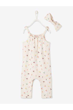 Vertbaudet Conjunto de mono y cinta para el cabello para bebé niña de felpa medio estampado