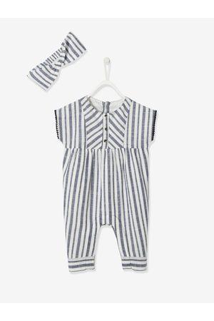 Vertbaudet Conjunto mono pantalón a rayas + cinta para el pelo, para bebé niña claro a rayas