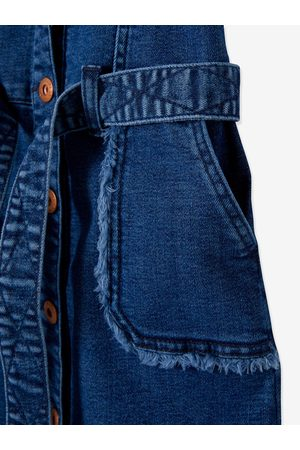 Vertbaudet Vestido vaquero de manga corta con detalles deshilachados, para niña claro lavado