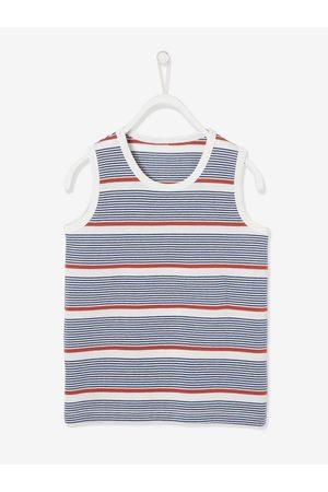 Vertbaudet Conjunto de camiseta sin mangas a rayas y bermudas de felpa, para niño oscuro a rayas