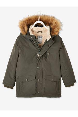 Vertbaudet Parka técnica con capucha para niño oscuro liso con motivos